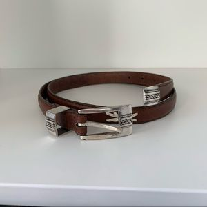 WOOLRICH Brown Leather Belt Size Large